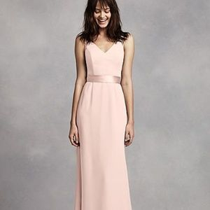 Vera Wang Long V Neck Crepe w Open Back- Petal